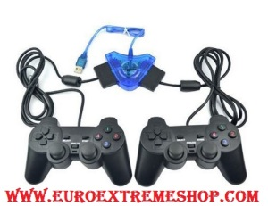 ADAPTADOR MANDO PS1 PS2 PSX PSOne A PS3 PC USB 2 MANDOS DUAL MULTIPLAYER 7