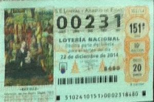LOTERIA NACIONAL  DE NAVIDAD 22 DICIEMBRE 2014 EL GORDO ESPAÑA ANTEQUERA Nº 00231
