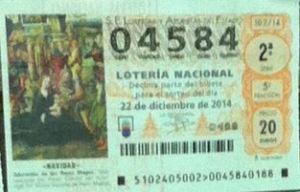 LOTERIA NACIONAL  DE NAVIDAD 22 DICIEMBRE 2014 EL GORDO ESPAÑA ANTEQUERA Nº 04584