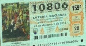 LOTERIA NACIONAL  DE NAVIDAD 22 DICIEMBRE 2014 EL GORDO ESPAÑA ANTEQUERA Nº 10806
