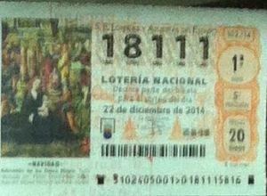 LOTERIA NACIONAL  DE NAVIDAD 22 DICIEMBRE 2014 EL GORDO ESPAÑA ANTEQUERA Nº 18111