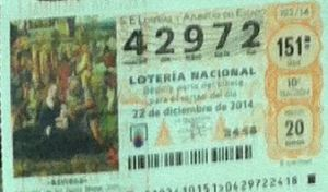 LOTERIA NACIONAL  DE NAVIDAD 22 DICIEMBRE 2014 EL GORDO ESPAÑA ANTEQUERA Nº 42972