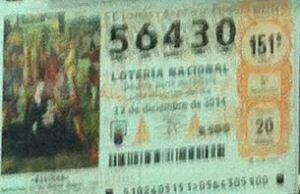 LOTERIA NACIONAL  DE NAVIDAD 22 DICIEMBRE 2014 EL GORDO ESPAÑA ANTEQUERA Nº 56430
