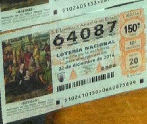 LOTERIA NACIONAL  DE NAVIDAD 22 DICIEMBRE 2014 EL GORDO ESPAÑA ANTEQUERA Nº 64087