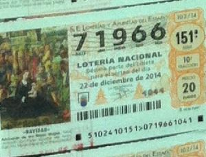 LOTERIA NACIONAL  DE NAVIDAD 22 DICIEMBRE 2014 EL GORDO ESPAÑA ANTEQUERA Nº 71966