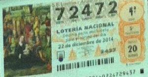 LOTERIA NACIONAL  DE NAVIDAD 22 DICIEMBRE 2014 EL GORDO ESPAÑA ANTEQUERA Nº 72472