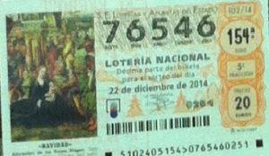 LOTERIA NACIONAL  DE NAVIDAD 22 DICIEMBRE 2014 EL GORDO ESPAÑA ANTEQUERA Nº 76546