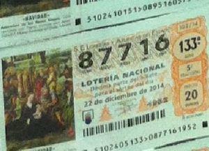 LOTERIA NACIONAL  DE NAVIDAD 22 DICIEMBRE 2014 EL GORDO ESPAÑA ANTEQUERA Nº 87716