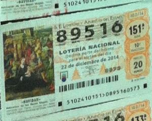 LOTERIA NACIONAL  DE NAVIDAD 22 DICIEMBRE 2014 EL GORDO ESPAÑA ANTEQUERA Nº 89516