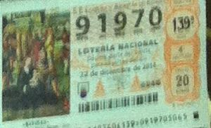 LOTERIA NACIONAL  DE NAVIDAD 22 DICIEMBRE 2014 EL GORDO ESPAÑA ANTEQUERA Nº 91970