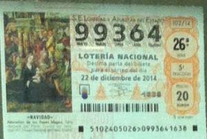 LOTERIA NACIONAL  DE NAVIDAD 22 DICIEMBRE 2014 EL GORDO ESPAÑA ANTEQUERA Nº 99364