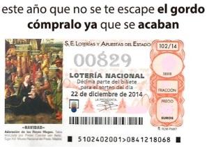 LOTERIA NACIONAL  DE NAVIDAD 22 DICIEMBRE 2014 EL GORDO ESPAÑA ANTEQUERA Nº00829