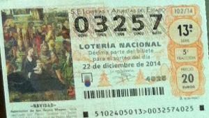 LOTERIA NACIONAL  DE NAVIDAD 22 DICIEMBRE 2014 EL GORDO ESPAÑA ANTEQUERA Nº03257
