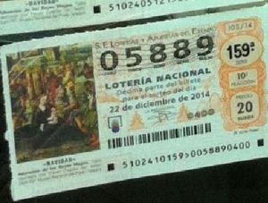 LOTERIA NACIONAL  DE NAVIDAD 22 DICIEMBRE 2014 EL GORDO ESPAÑA ANTEQUERA Nº05889