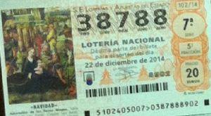 LOTERIA NACIONAL  DE NAVIDAD 22 DICIEMBRE 2014 EL GORDO ESPAÑA ANTEQUERA Nº38788