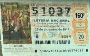 LOTERIA NACIONAL  DE NAVIDAD 22 DICIEMBRE 2014 EL GORDO ESPAÑA ANTEQUERA Nº51037